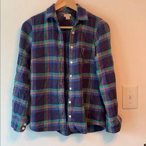 J Crew Plaid Flannel Shirt XS 100% Cotton
